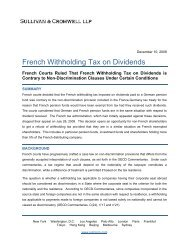 French Withholding Tax on Dividends - Sullivan & Cromwell