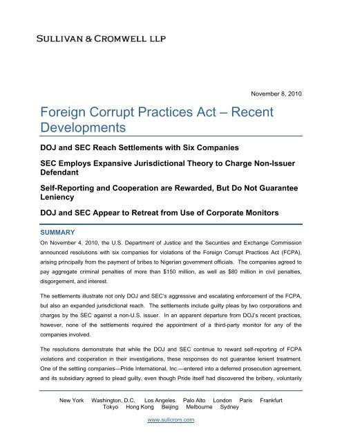 Foreign Corrupt Practices Act A Recent Developments