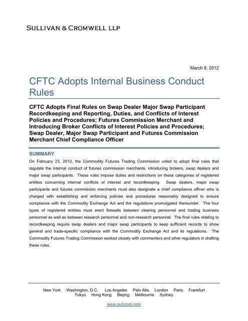 CFTC Adopts Internal Business Conduct Rules - Sullivan