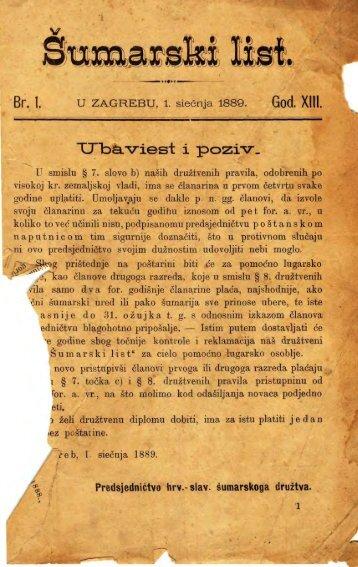 ÅUMARSKI LIST 1/1889