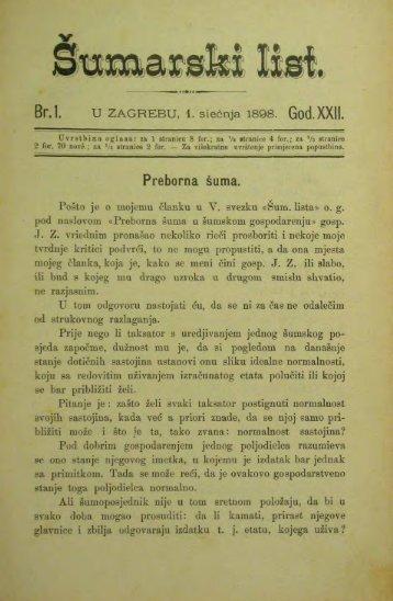 ÅUMARSKI LIST 1/1898