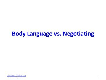 Body Language vs. Negotiating: Short Synthesis - Sumbiosis