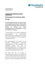 Pressemitteilung Werkzeugtest bei Sumitomo (SHI) Demag