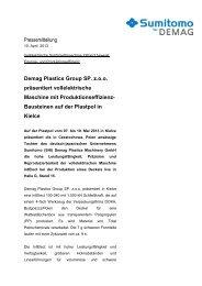 Pressemitteilung Demag Plastics Group SP. z.o.o. ... - Sumitomo (SHI)