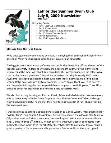 Newsletter #3 - July 5, 2009 - Lethbridge Orcas Summer Swim Club