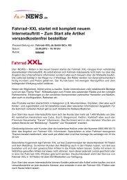 Fahrrad-XXL startet mit komplett neuem Internetauftritt - Fair-news.de