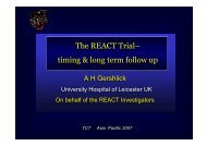 The REACT Trial– timing & long term follow up The ... - summitMD.com