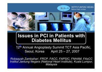 Issues in PCI in Diabetics - summitMD.com