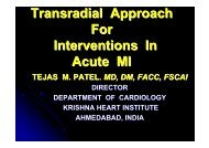 Transradial Approach For Interventions In Acute MI - summitMD.com