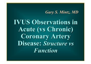 IVUS Observations in Acute (vs Chronic) Coronary ... - summitMD.com