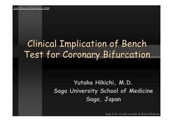 Clinical Implication of Bench Test for Coronary ... - summitMD.com