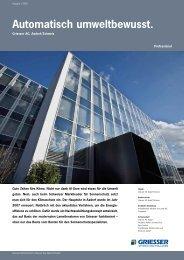 Automatisch umweltbewusst, Griesser-Werk CH - Sun-Protect GmbH