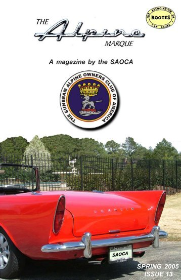 A magazine by the SAOCA SPRING 2005 ISSUE 13 - The Sunbeam ...