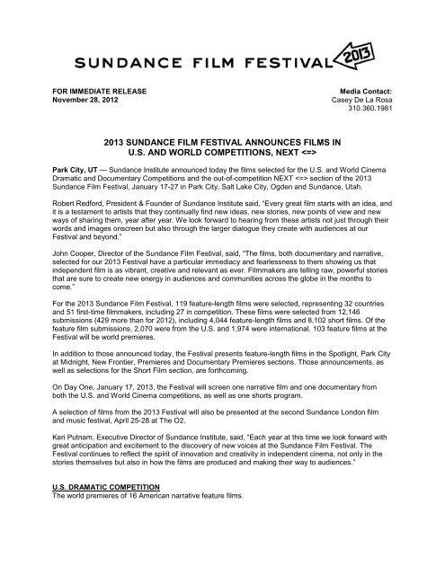Download Press Release - Sundance Institute