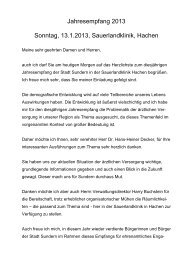 Jahresempfang 2013 Sonntag, 13.1.2013 ... - Sundern
