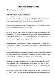 Haushaltsrede 2013 - Sundern