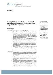 Forslag til implementering af Sundhedsstyrelsens anbefalinger for ...