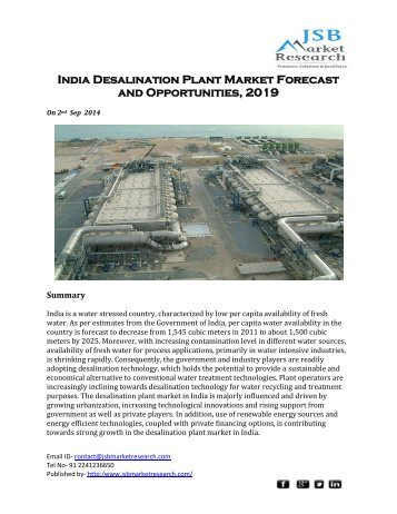 JSB Market Research: India Desalination Plant Market Forecast and Opportunities, 2019