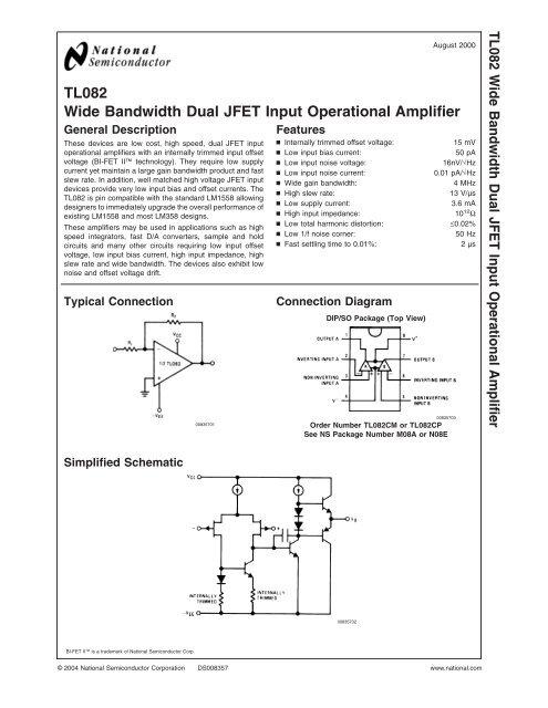 TL082 Wide Bandwidth Dual JFET Input Operational     - SUNIST