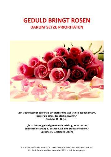 Top Geduld Bringt Rosen Chrischona Gemeinde Affoltern With Rosen Bilder Mit  Sprche.