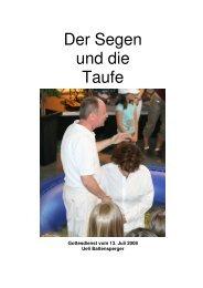 Der Segen und die Taufe - Chrischona Gemeinde Affoltern