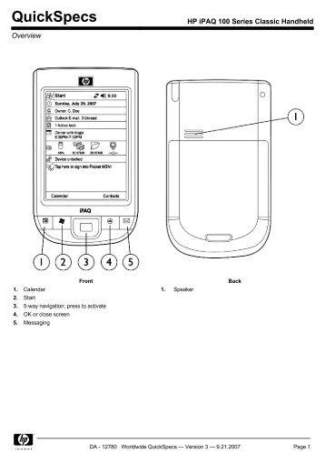 HP iPAQ 100 Series Classic Handheld - Sunnysoft