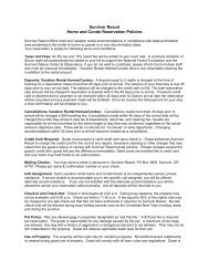 Rental Policy for Vacation Rental Homes ... - Sunriver Resort