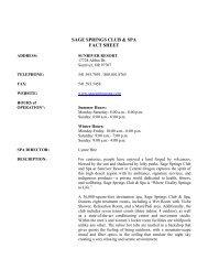 SAGE SPRINGS CLUB & SPA FACT SHEET - Sunriver Resort