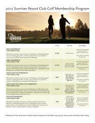 2012 Sunriver Resort Club Golf Membership Program