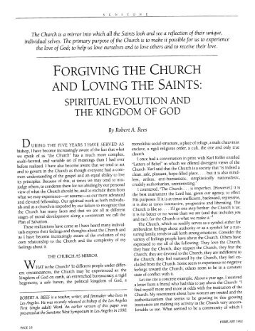 forgiving the church and loving the saints - Sunstone Magazine