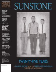 TWENTY-FIVE YEARS - Sunstone Magazine