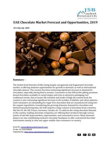 JSB Market Research: UAE Chocolate Market Forecast and Opportunities, 2019