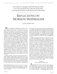 REFLECTIONS ON MORMON MATERIALISM - Sunstone Magazine