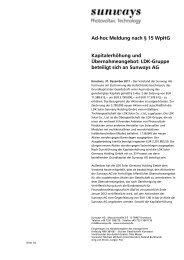 Ad[hoc Meldung nach § 15 WpHG Kapitalerhöhung ... - Sunways AG