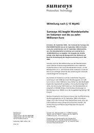 Ad-hoc-Meldung - Sunways AG