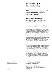 Ad-hoc-Publication - Sunways AG