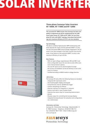 Manual Sunways Solar Inverter Nt 10000 Nt 12000