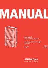 User Manual Sunways Solar Inverter NT 2500, NT ... - Sunways AG