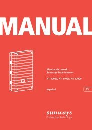 Manual Sunways Solar Inverter NT 10000...NT 12000 - Sunways AG