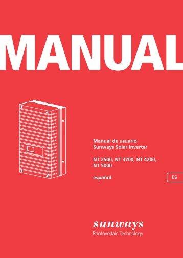 Manual de usuario Sunways Solar Inverter NT 2500 ... - Sunways AG