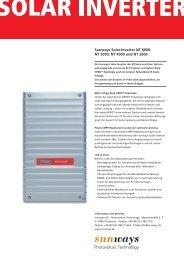 Sunways Solar-Inverter NT 6000, NT 5000, NT 4000 ... - Sunways AG
