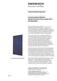 Comunicado de prensa Sunways Solar Module ... - Sunways AG