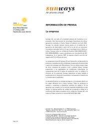 INFORMACIÓN DE PRENSA La empresa - Sunways AG