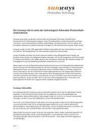Unternehmensprofil der Sunways AG