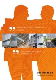 The multi-facetted potential of customised PV. What ... - Sunways AG