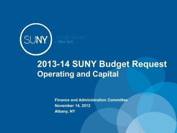 2013-14 SUNY Budget Request - The State University of New York
