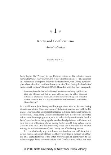 Rorty and Confucianism - SUNY Press