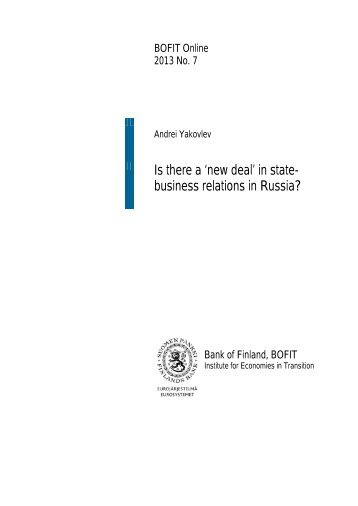 Is there a 'new deal' in state-business relations in ... - Suomen Pankki