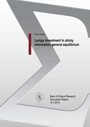 Lumpy investment in sticky information general ... - Suomen Pankki