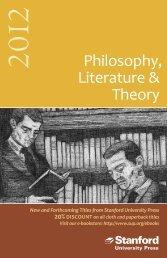 Philosophy, Literature & Theory - Stanford University Press